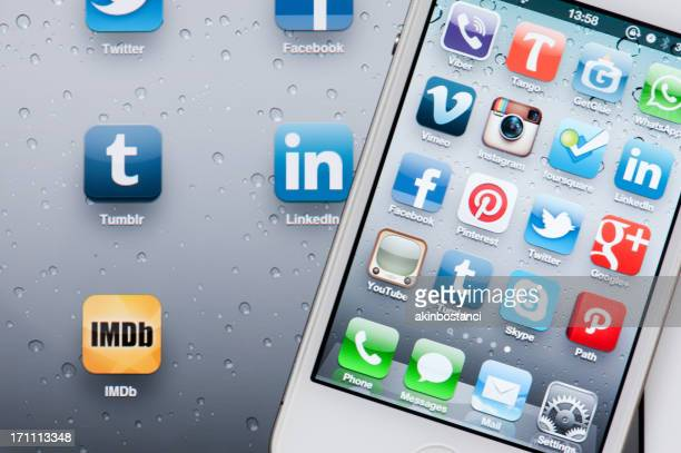 Social Media Applications on iPhone and iPad screen