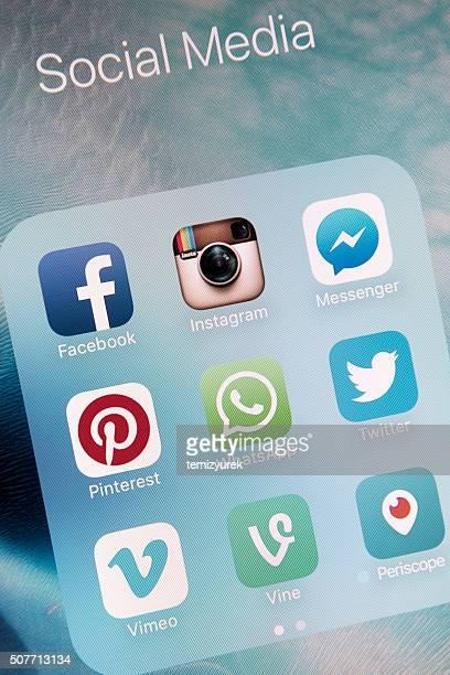 Les médias sociaux Apps sur Apple iPhone 6 s et écran plat