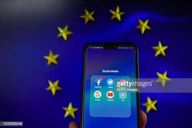 Social media apps with European Union flag are seen in this photo illustration The European Commission is planning issue a regulation that allows to...