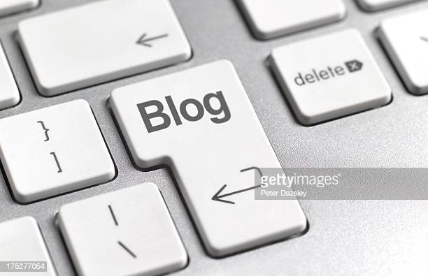 social media 'blog' key on keyboard - blogging stock pictures, royalty-free photos & images