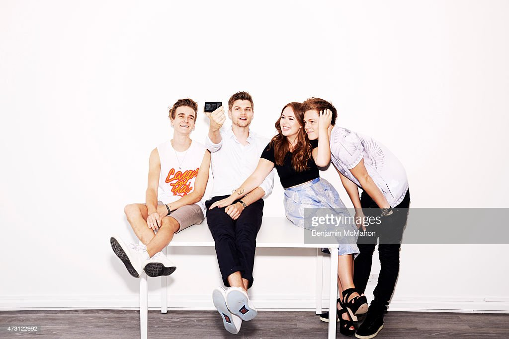 Social media bloggers, Joe Sugg, Jim Chapman, Tanya Burr and Casper Lee are photographed for the Telegraph on July 29, 2014 in London, England.