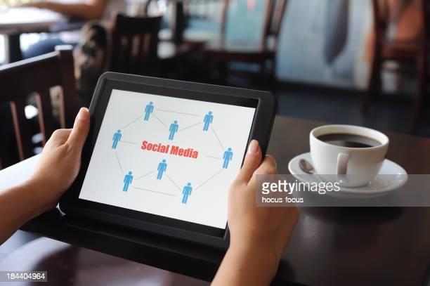 Social Media chart on digital tablet