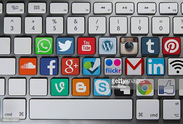 Social media communication icons on keyboard