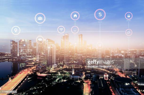 social media communication internet network connection city skyscraper view cityscape background - media_(communication) stock pictures, royalty-free photos & images