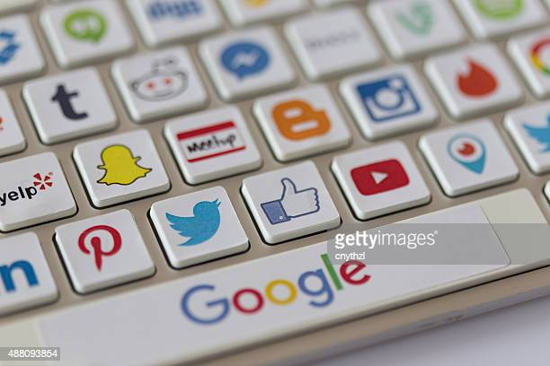 social media communication keyboard - marketing icons stock photos and pictures