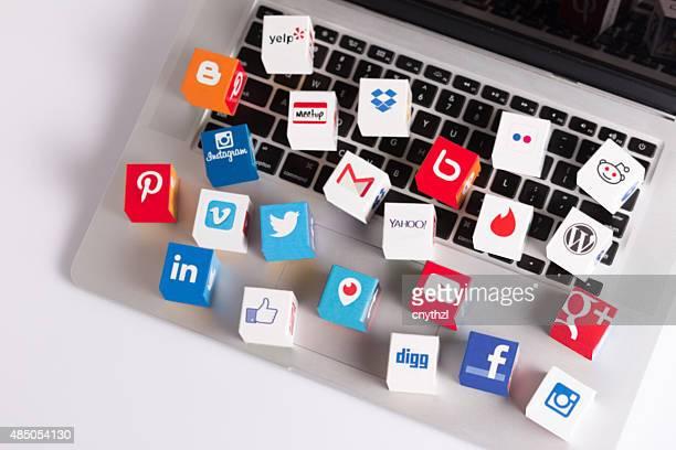 Social Media Cubes on a Laptop