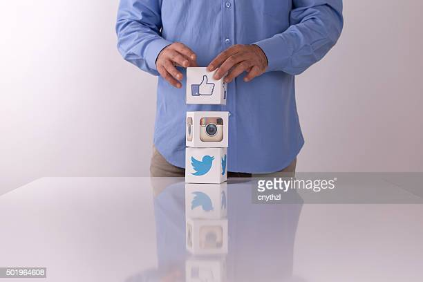 Social Media Cubes on a White Background