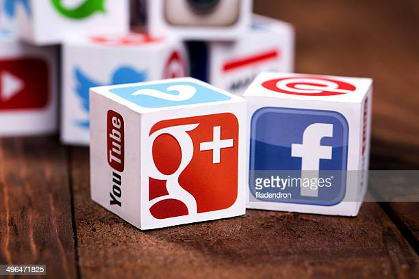social media cubes on a wooden background - google stock pictures, royalty-free photos & images