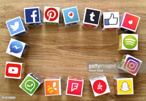 social media cubes - social media icon stock photos and pictures
