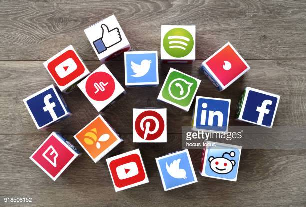 social media cubes - social media icons stock pictures, royalty-free photos & images