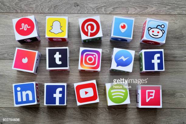 social media cubes - marketing icons stock photos and pictures