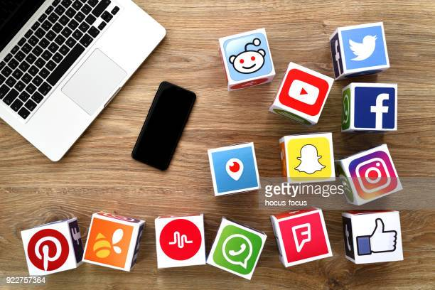 social media cubes - event icon set stock photos and pictures