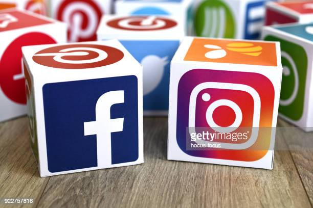 social media cubes - like button stock photos and pictures