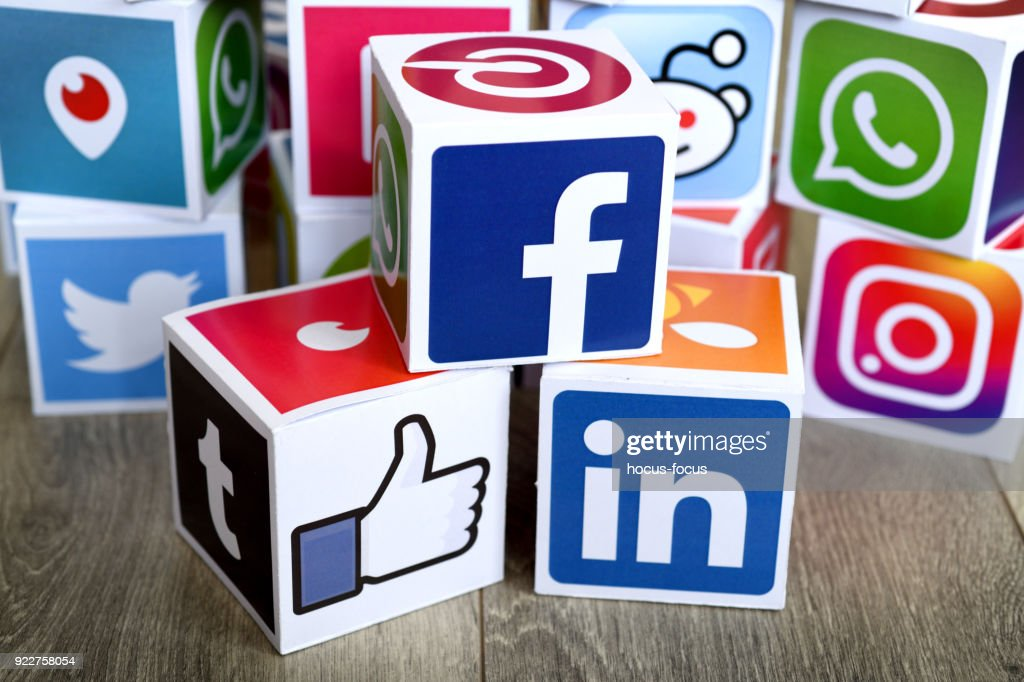 Social media cubes : Stock Photo