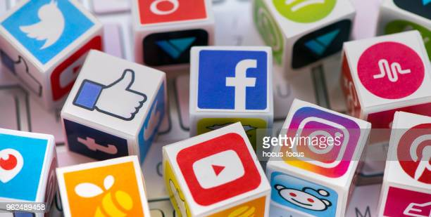 social media cubes - social issues stock pictures, royalty-free photos & images
