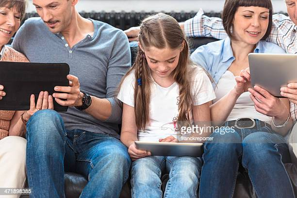 social media family addiction - multimedia stock photos and pictures