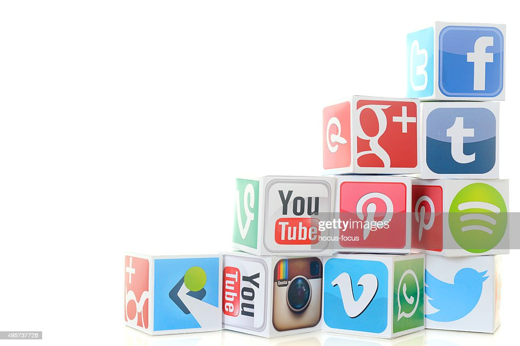 Social media icon cubes including Twitter and Facebook : Stock Photo