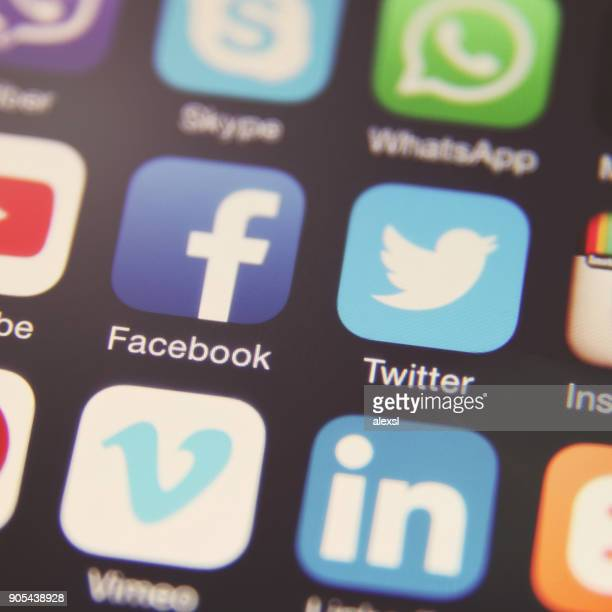 social media icon mobile phone app application - social media icon stock photos and pictures