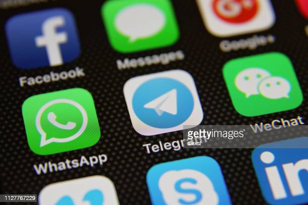 social media icons internet app application - telegram stock pictures, royalty-free photos & images