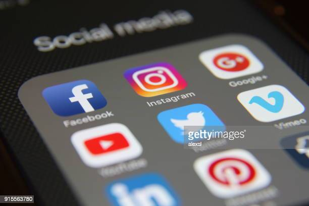 social media icons internet app application - social media icon stock photos and pictures