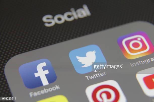 aplicación de los medios de comunicación social iconos internet app - mensajería instantánea fotografías e imágenes de stock