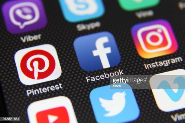 Social-Media-app Symbole Internetanwendung