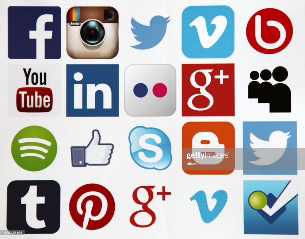 Social media icons internet mobile app application : Stock Photo