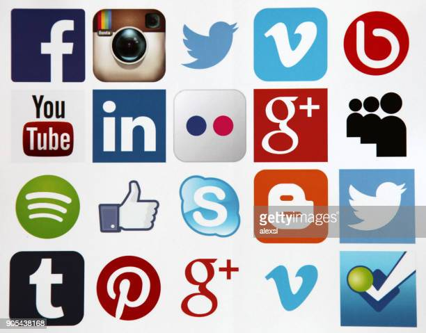 Social media icons internet mobile app application