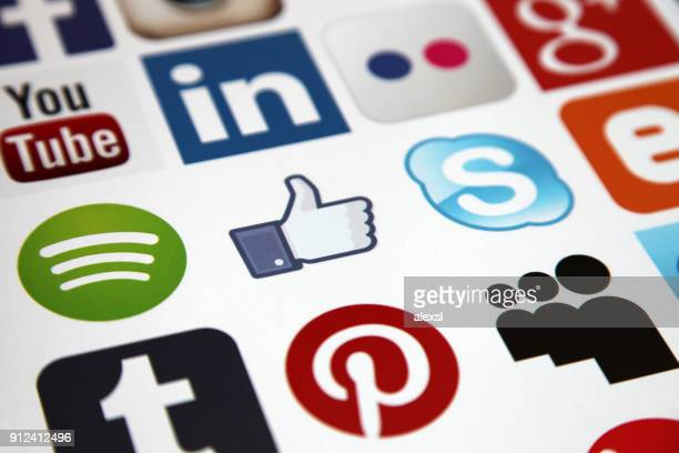 Social media icons internet mobile app application