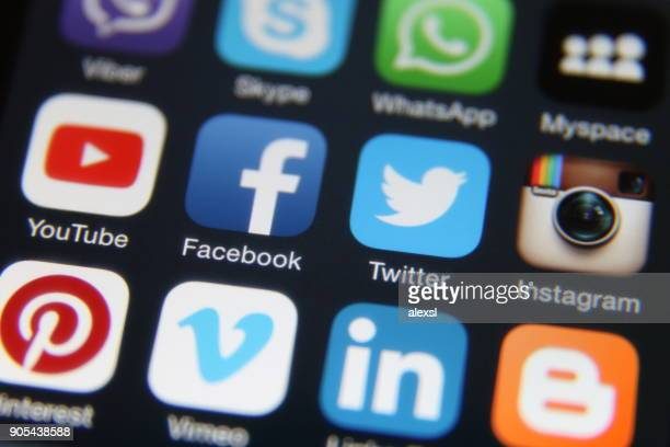 social media icons internet mobile phone application - phone icon stock pictures, royalty-free photos & images