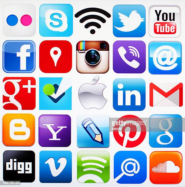 social media icons - computer icon stock photos and pictures