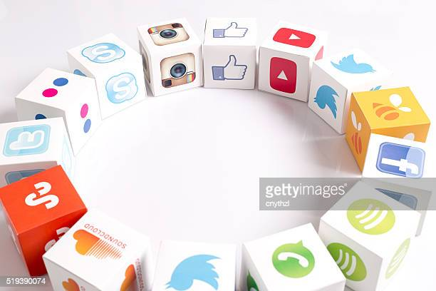 Social Media Icons Printed Paper Cubes