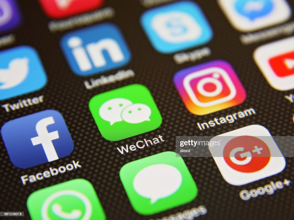 Social Media Icons Wechat Online Message Application Stock Photo