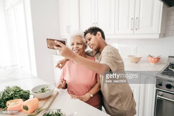 Social media in family kitchen