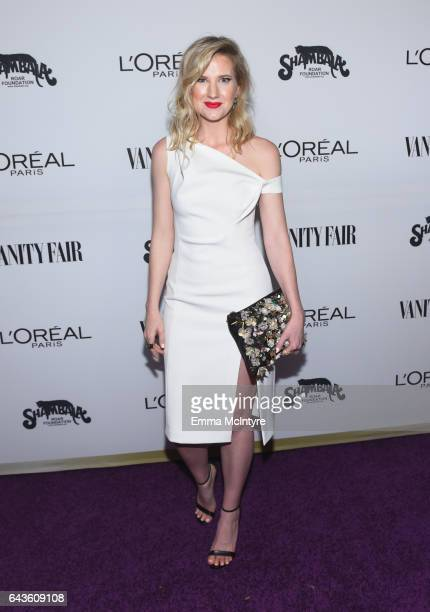 Social media influencer Ashley Brooke attends Vanity Fair and L'Oreal Paris Beauty Suite at Four Seasons Hotel Los Angeles at Beverly Hills on...