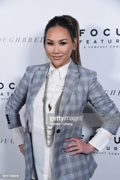 Social media influencer Dorothy Wang attends the premiere of Focus Features' Thoroughbreds at Sunset Marquis Hotel on February 28 2018 in West...