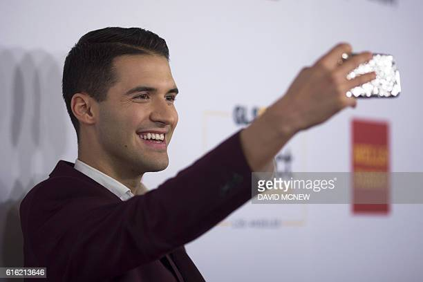 Social media influencer Raymond Braun takes a selfie at the GLSEN Respect Awards, which showcases exemplary role models who have made a significant...