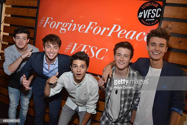 Social media influencers Aaron Carpenter Wesley Stromberg Brent Rivera Crawford Collins and Christian Collins pose during Vanity Fair Social Club's...