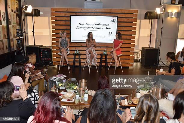 Social media influencers Amanda Steele and Lauren Elizabeth speak onstage with social media inflluencer Shira Lazar during Vanity Fair Social Club's...