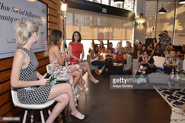 Social media influencers Amanda Steele and Lauren Elizabeth speak onstage with social media inflluencer Shira Lazar during Vanity Fair Social Club's...