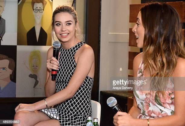 Social media influencers Amanda Steele and Lauren Elizabeth speak onstage during Vanity Fair Social Club's In Conversation with YouTube Stars Amanda...