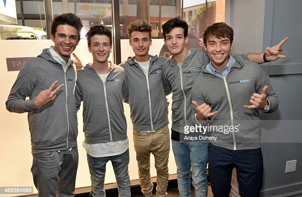 Social media influencers Brent Rivera Crawford Collins Christian Collins Aaron Carpenter and Wesley Stromberg pose during Vanity Fair Social Club's...