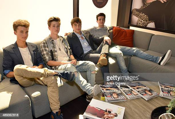 Social media influencers Christian Collins Crawford Collins Wesley Stromberg and Aaron Carpenter pose during Vanity Fair Social Club's 'The Future of...