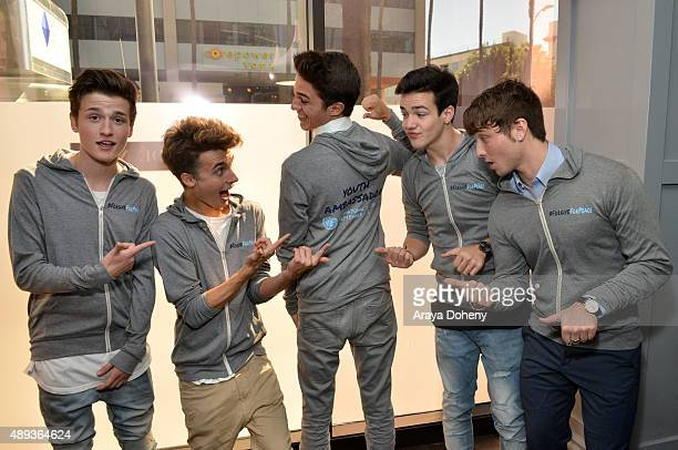 Social media influencers Crawford Collins Christian Collins Brent Rivera Aaron Carpenter and Wesley Stromberg pose during Vanity Fair Social Club's...