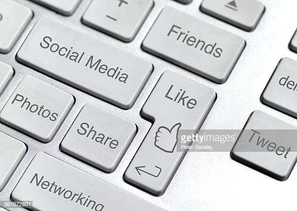 social media keyboard - like button stock pictures, royalty-free photos & images
