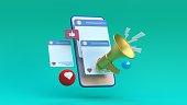 Social Media Megaphone Concept