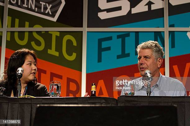 Social Media Mgr Helen Cho of Point Zero Production Inc and celebrity chef Anthony Bourdain speak onstage at 'Digital Debauchery with Anthony...