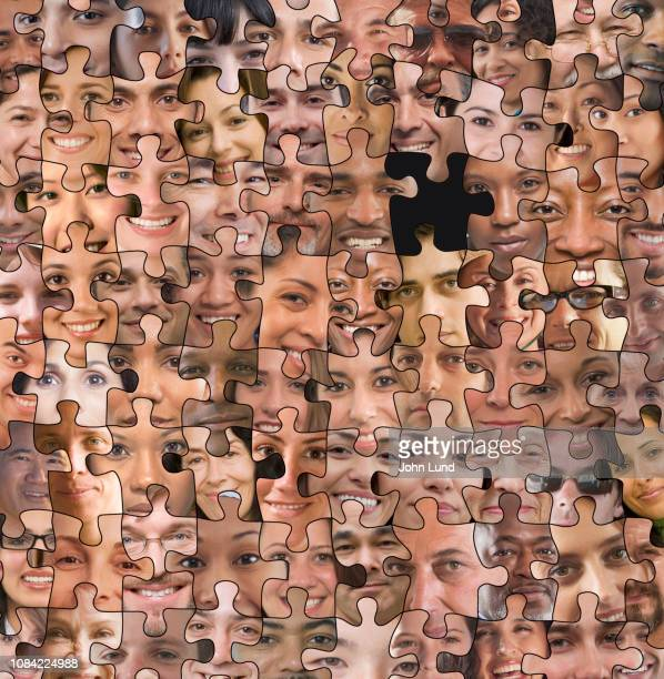 social media missing puzzle piece - demography stock pictures, royalty-free photos & images