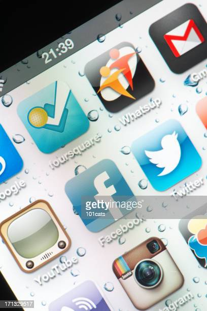 social media on the Iphone screen
