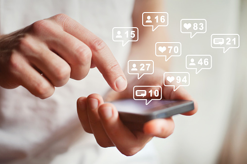 social media or network on smartphone mobile, comments, likes and new followers 1155073654